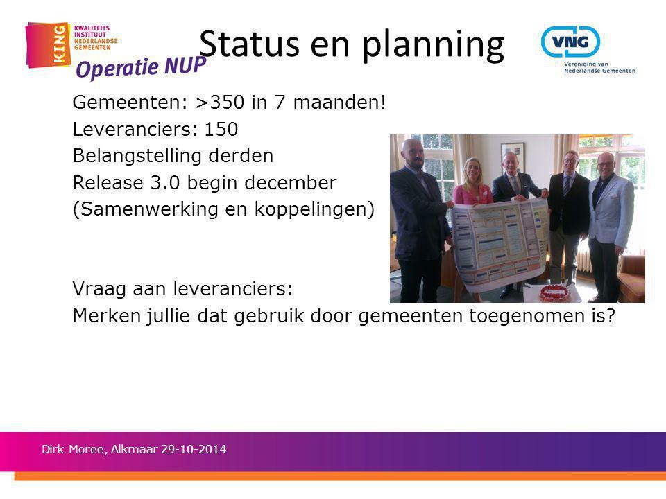 Status en planning Gemeenten: >350 in 7 maanden! Leveranciers: 150