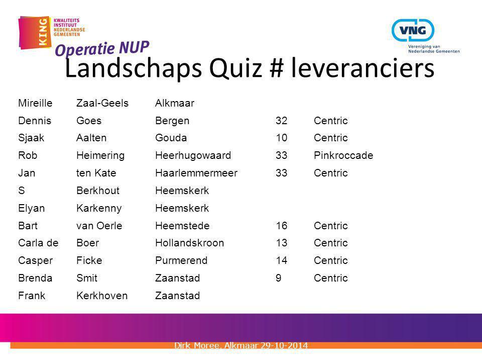 Landschaps Quiz # leveranciers