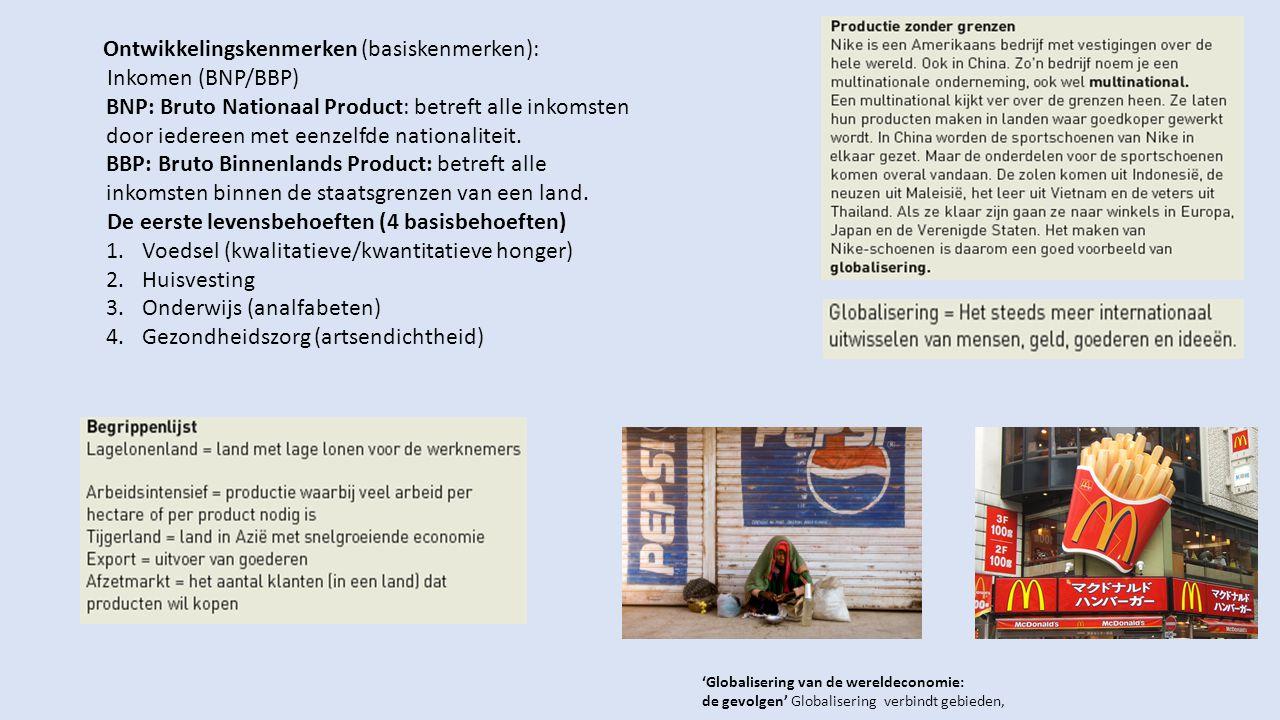 Ontwikkelingskenmerken (basiskenmerken): Inkomen (BNP/BBP)