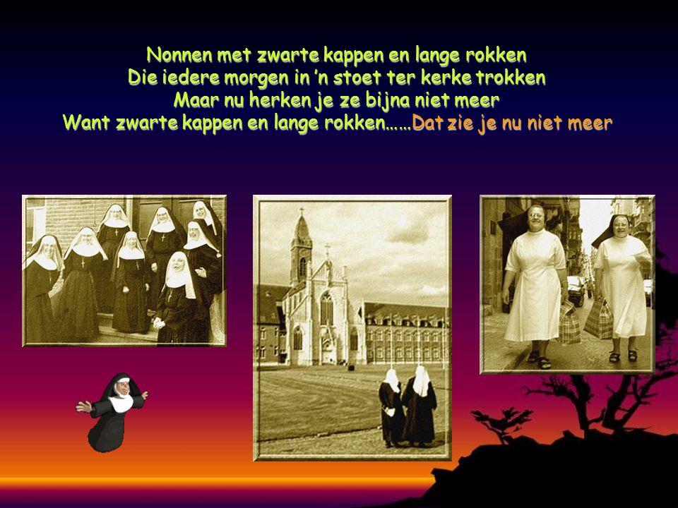 Nonnen met zwarte kappen en lange rokken