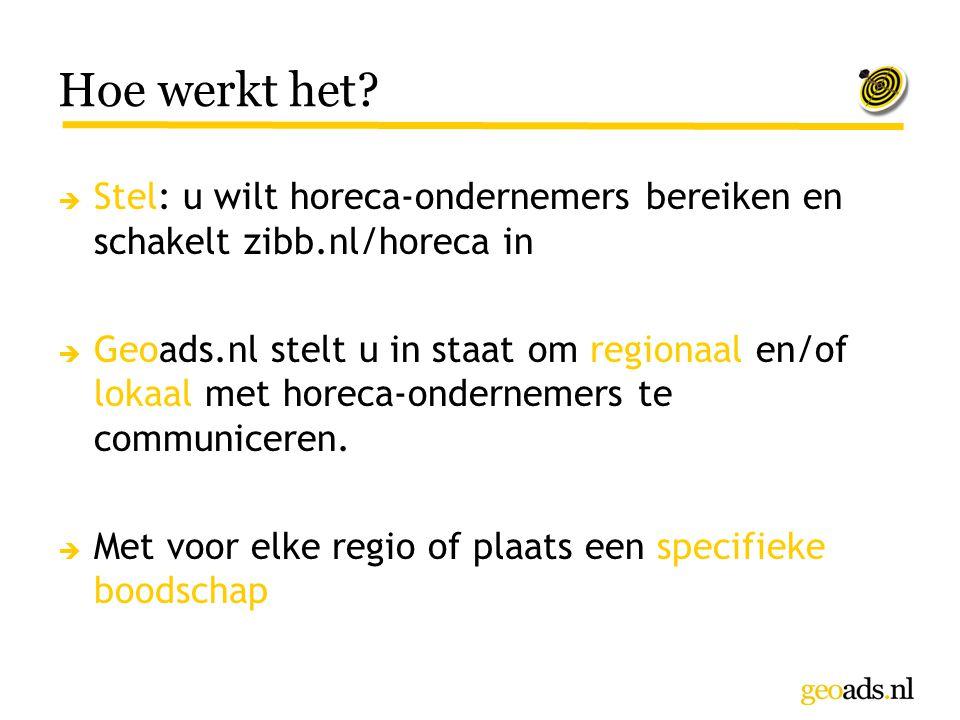 Hoe werkt het Stel: u wilt horeca-ondernemers bereiken en schakelt zibb.nl/horeca in.
