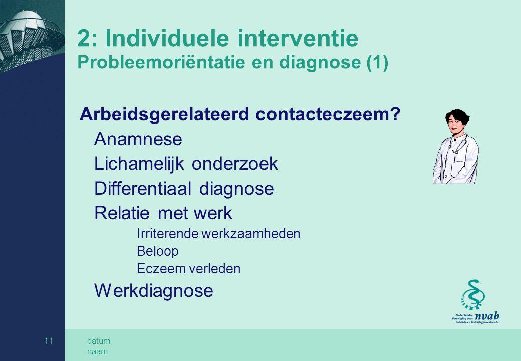 2: Individuele interventie Probleemoriëntatie en diagnose (1)