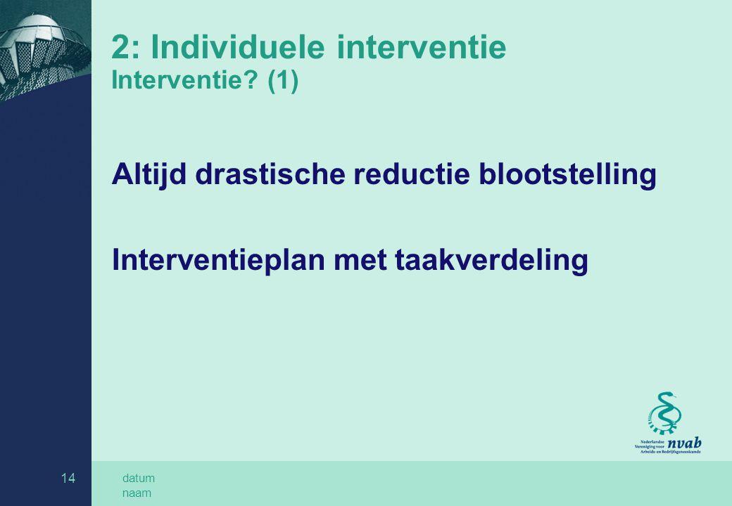 2: Individuele interventie Interventie (1)
