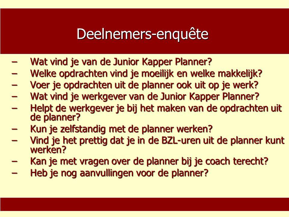 Deelnemers-enquête Wat vind je van de Junior Kapper Planner