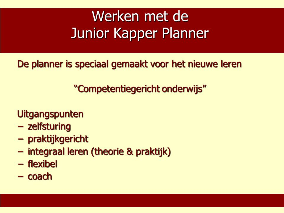Werken met de Junior Kapper Planner