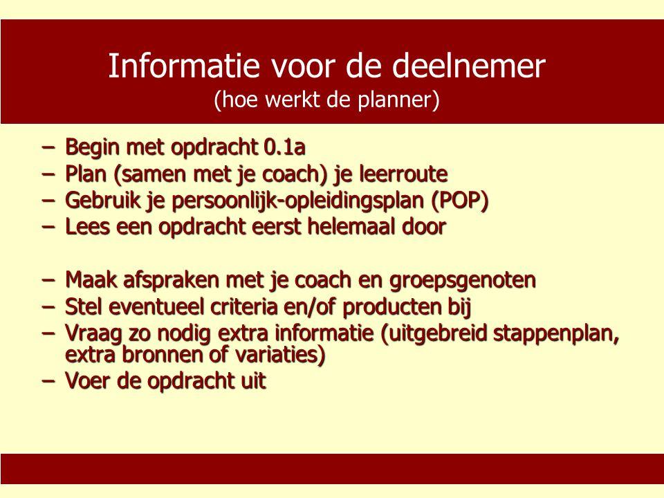 Informatie voor de deelnemer (hoe werkt de planner)