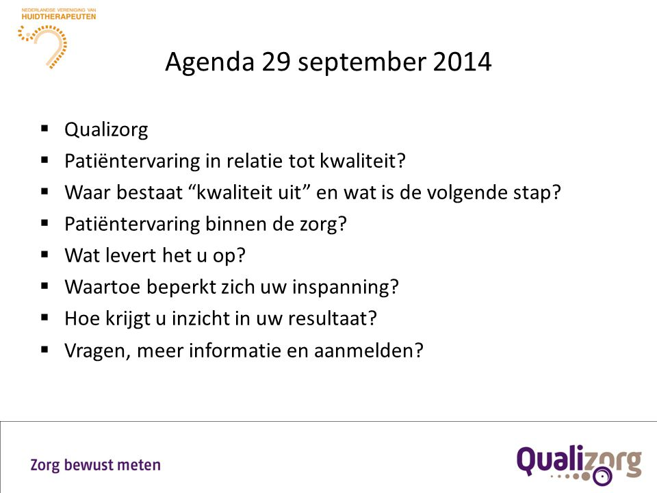 Agenda 29 september 2014 Qualizorg