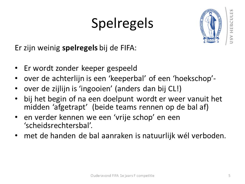 Ouderavond FIFA 1e jaars F competitie