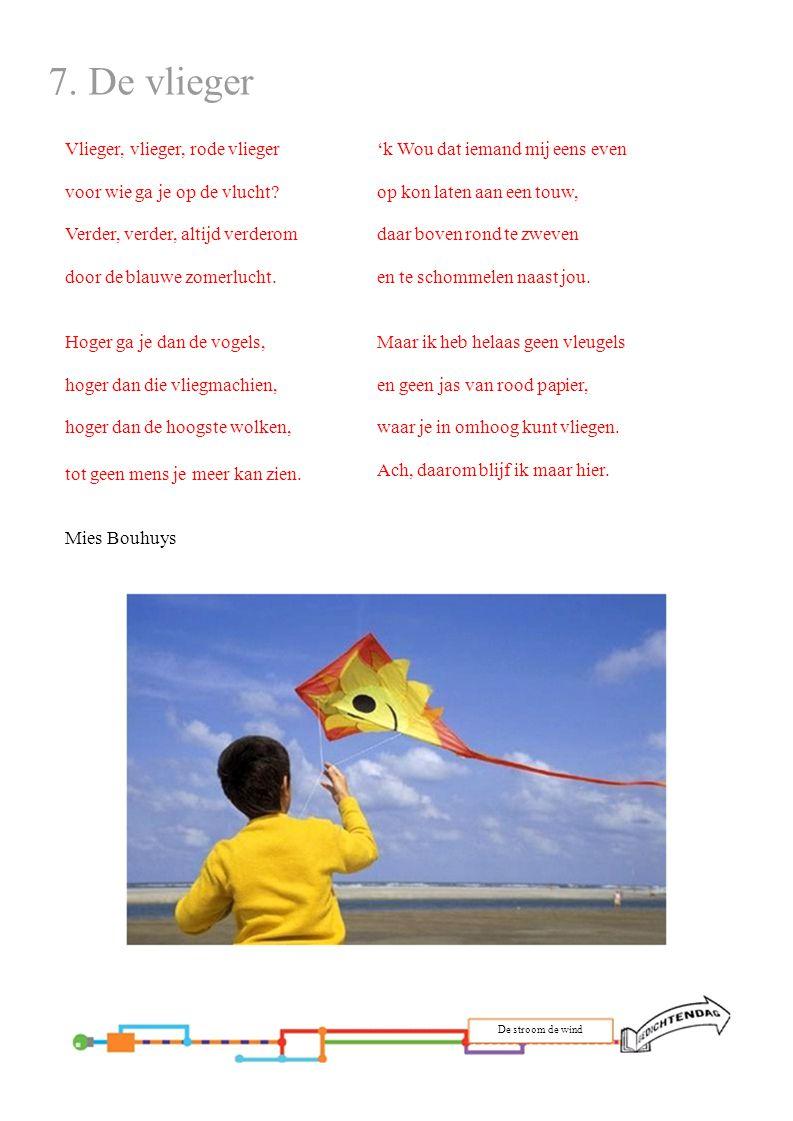7. De vlieger Vlieger, vlieger, rode vlieger voor wie ga je op de vlucht Verder, verder, altijd verderom door de blauwe zomerlucht.