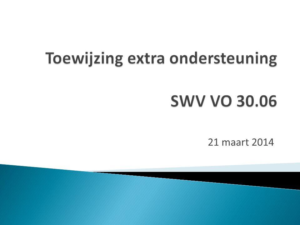 Toewijzing extra ondersteuning SWV VO 30.06