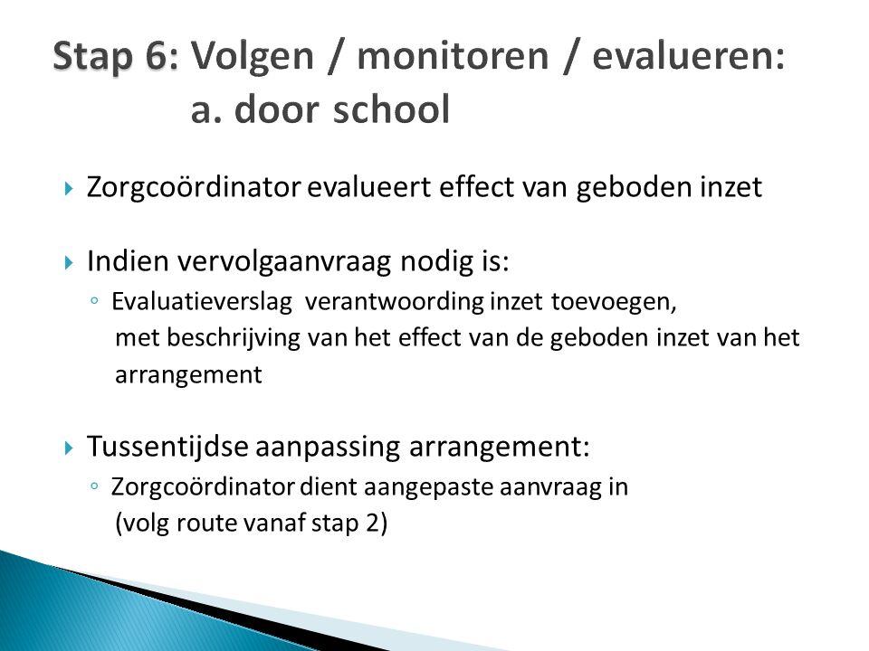 Stap 6: Volgen / monitoren / evalueren: a. door school