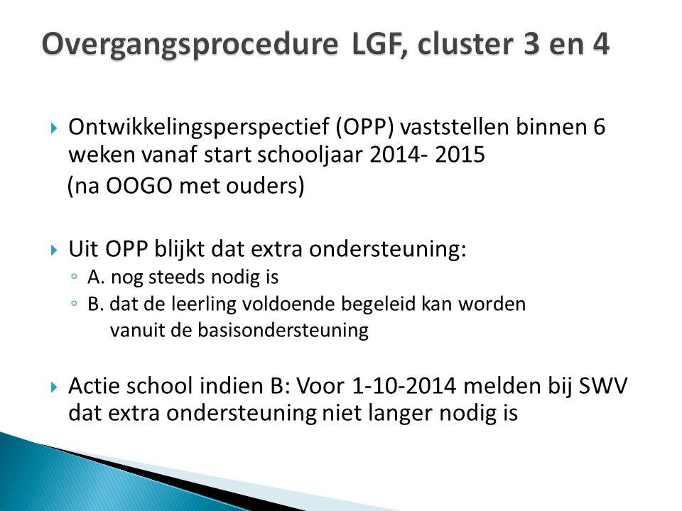 Overgangsprocedure LGF, cluster 3 en 4