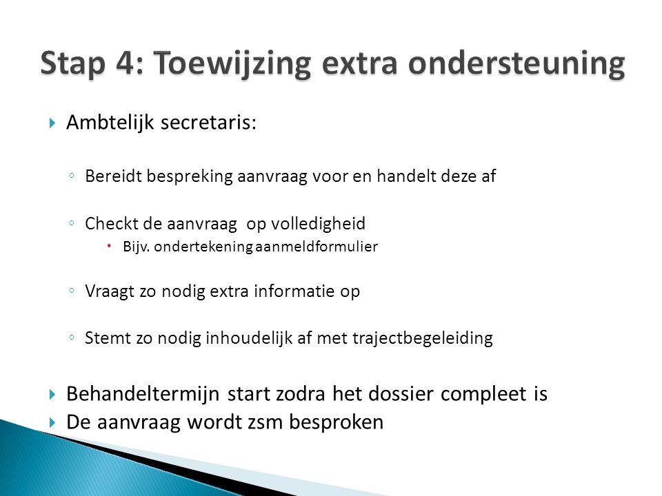 Stap 4: Toewijzing extra ondersteuning