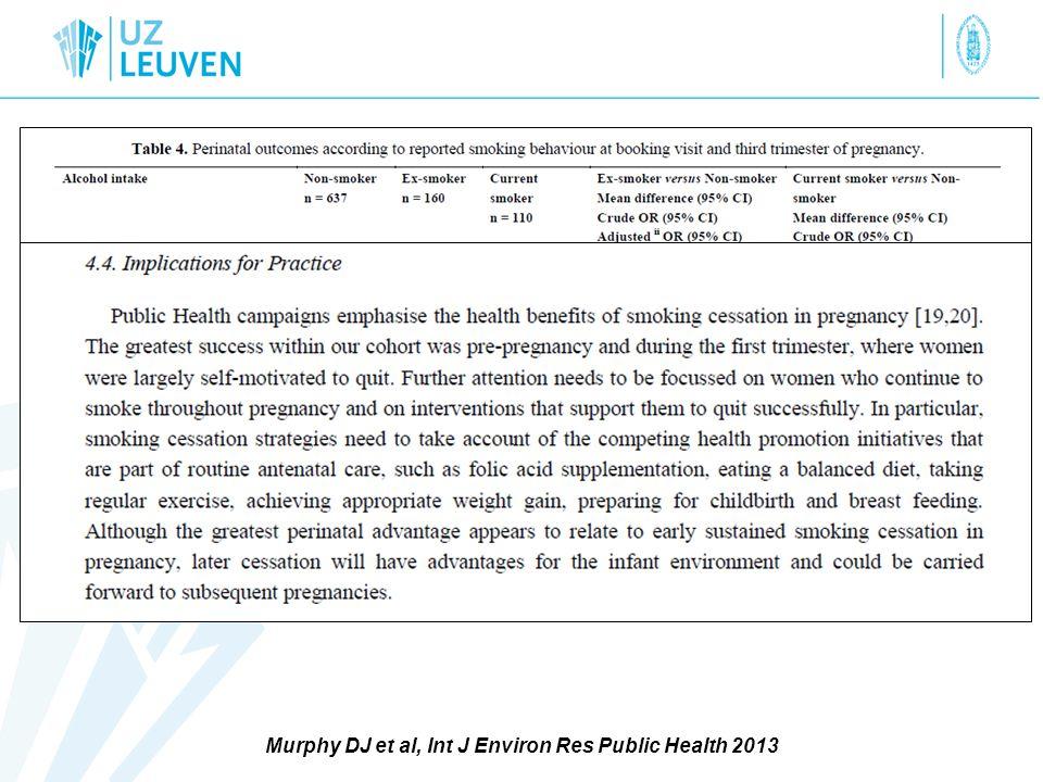 Murphy DJ et al, Int J Environ Res Public Health 2013