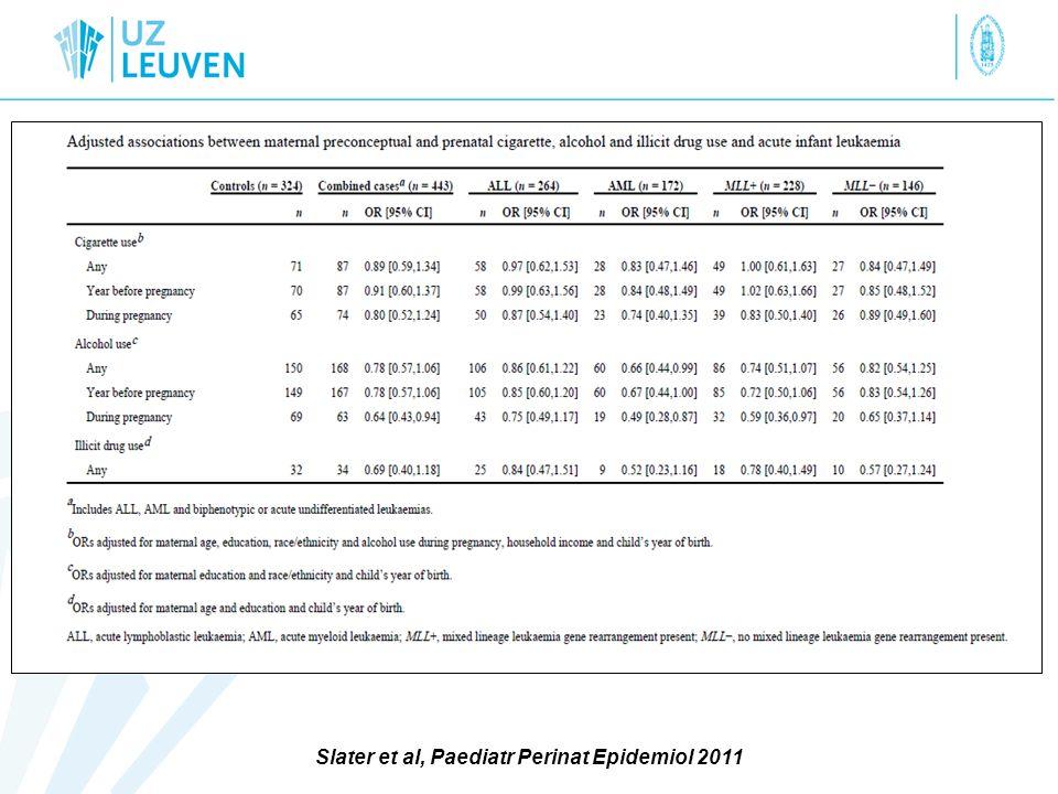 Slater et al, Paediatr Perinat Epidemiol 2011