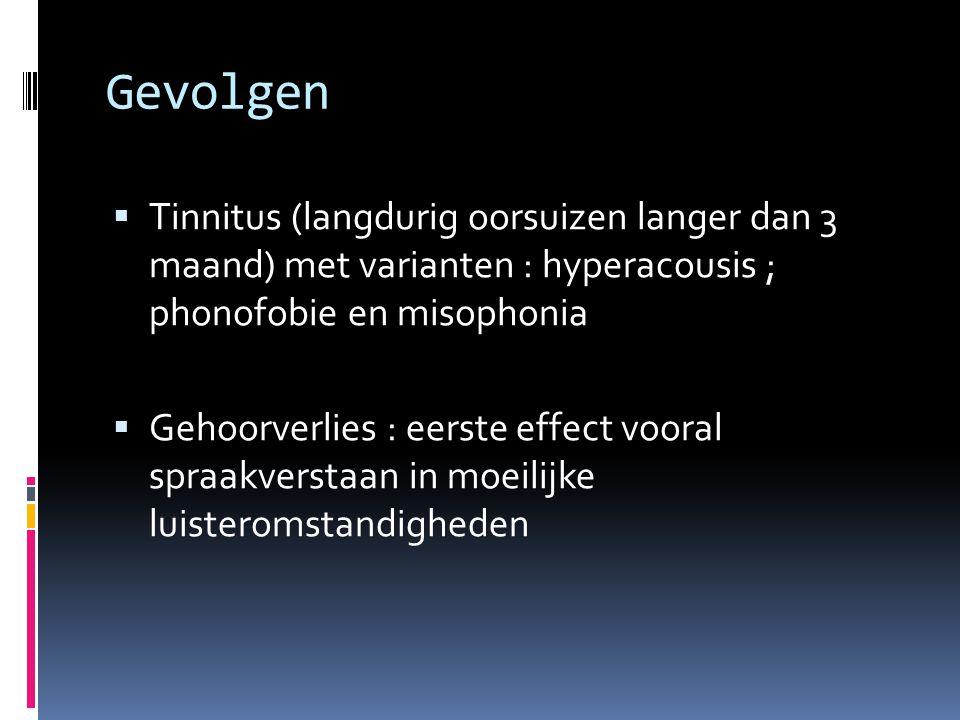 Gevolgen Tinnitus (langdurig oorsuizen langer dan 3 maand) met varianten : hyperacousis ; phonofobie en misophonia.