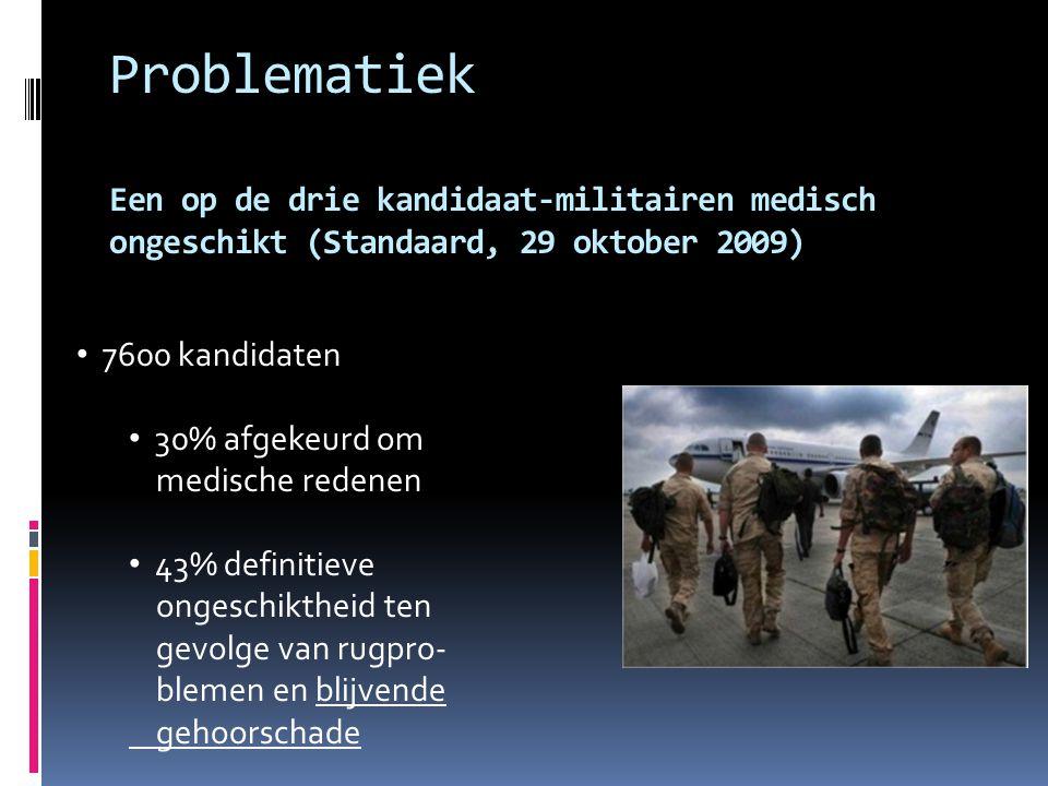 Problematiek Een op de drie kandidaat-militairen medisch ongeschikt (Standaard, 29 oktober 2009)