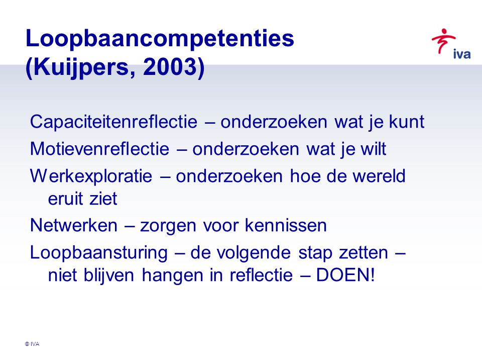 Loopbaancompetenties (Kuijpers, 2003)