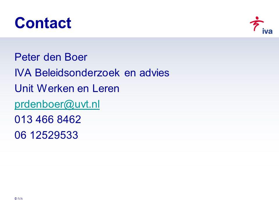 Contact Peter den Boer IVA Beleidsonderzoek en advies