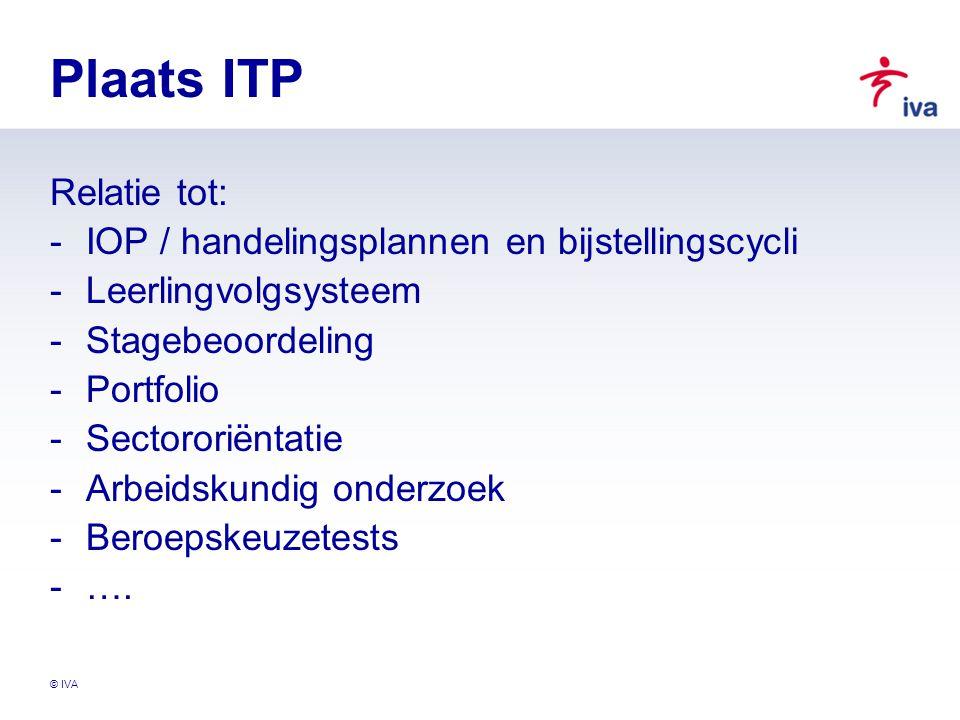 Plaats ITP Relatie tot: IOP / handelingsplannen en bijstellingscycli