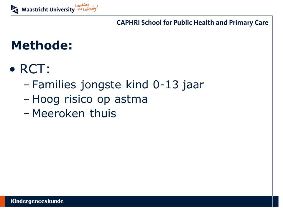 RCT: Methode: Families jongste kind 0-13 jaar Hoog risico op astma