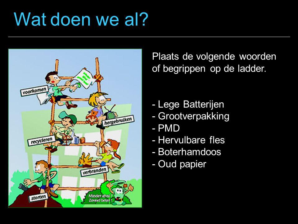 Wat doen we al Plaats de volgende woorden of begrippen op de ladder.