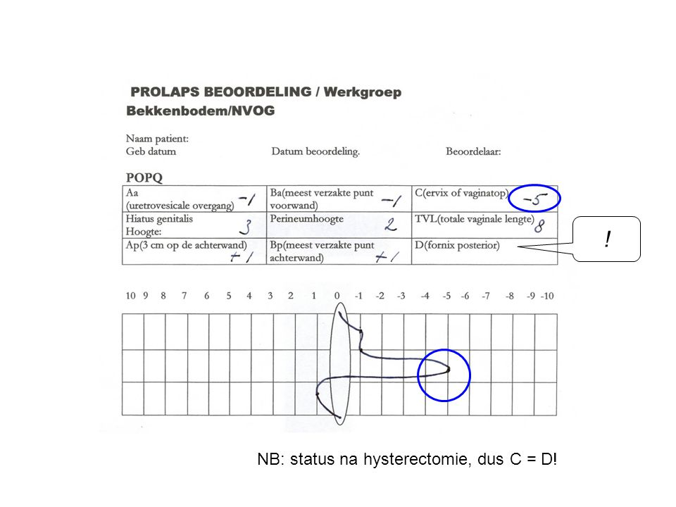 ! NB: status na hysterectomie, dus C = D!