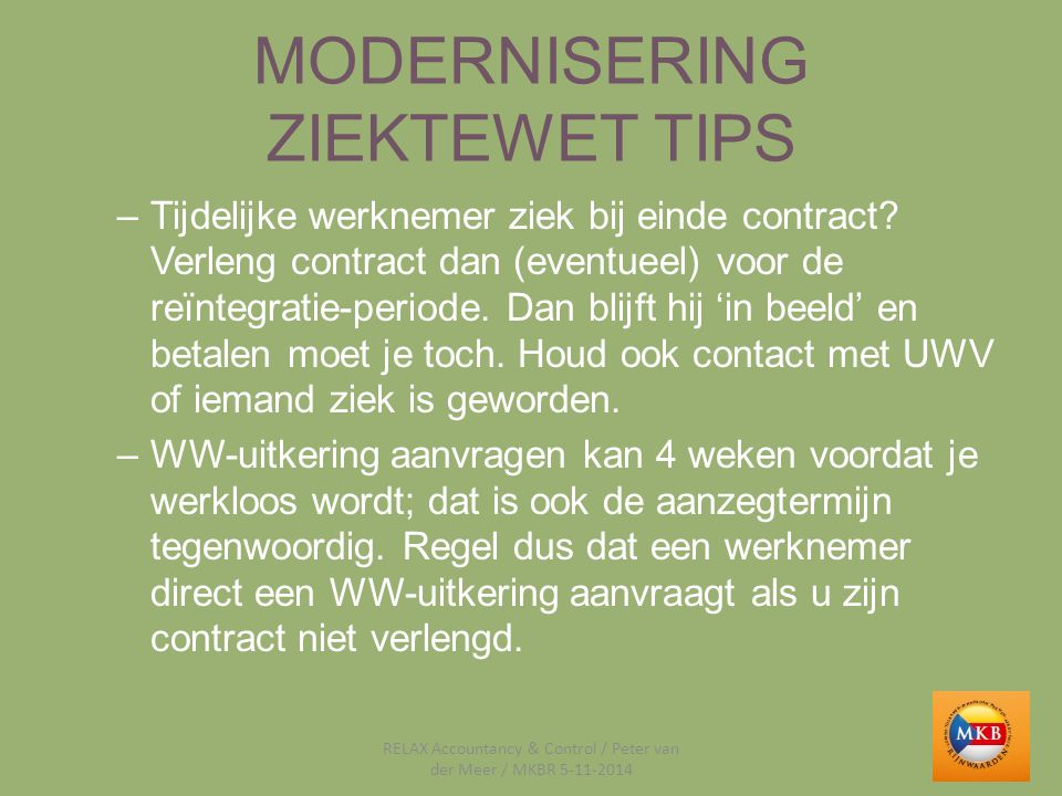 MODERNISERING ZIEKTEWET TIPS