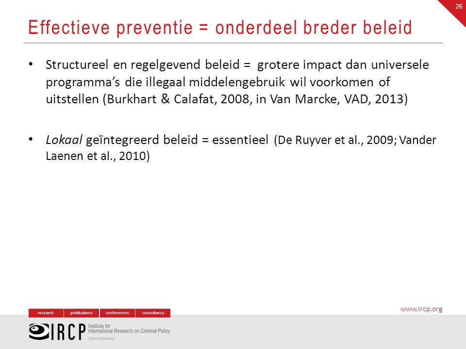 Effectieve preventie = onderdeel breder beleid