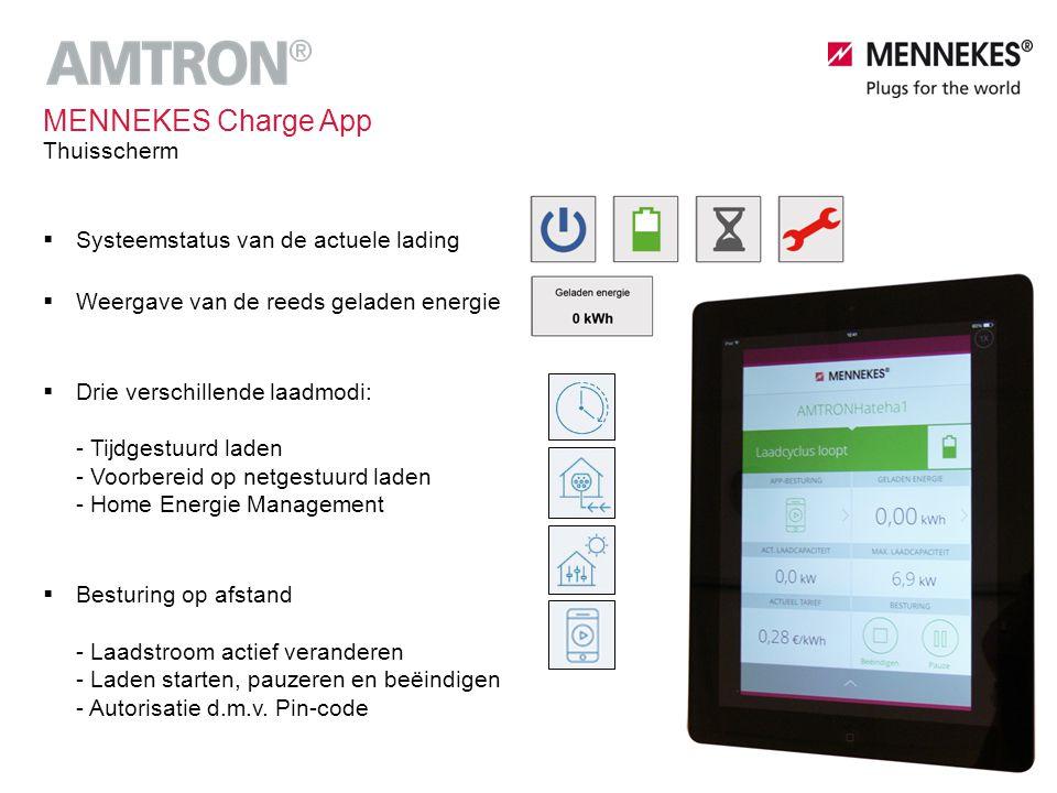 MENNEKES Charge App Thuisscherm Systeemstatus van de actuele lading