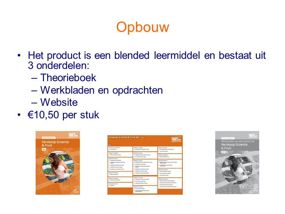 Opbouw Het product is een blended leermiddel en bestaat uit 3 onderdelen: Theorieboek. Werkbladen en opdrachten.