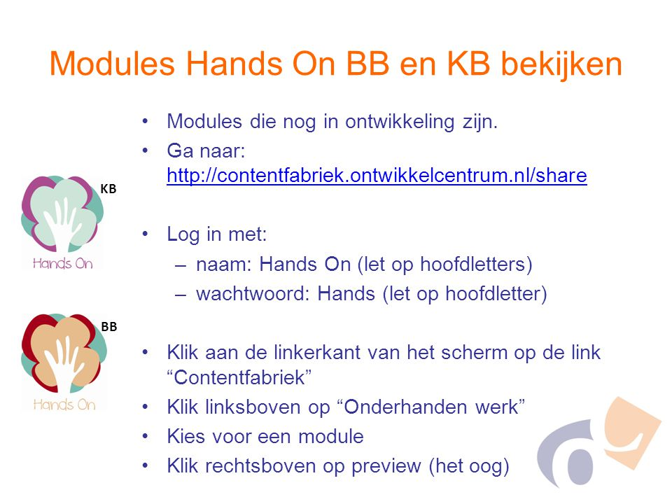 Modules Hands On BB en KB bekijken