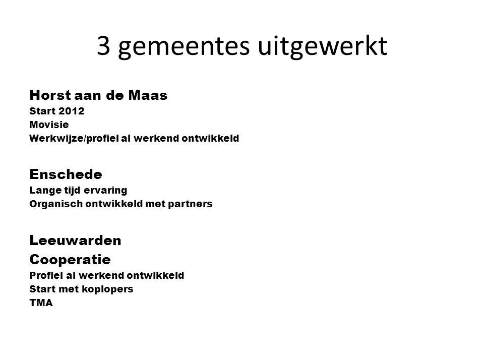 3 gemeentes uitgewerkt Horst aan de Maas Enschede Leeuwarden