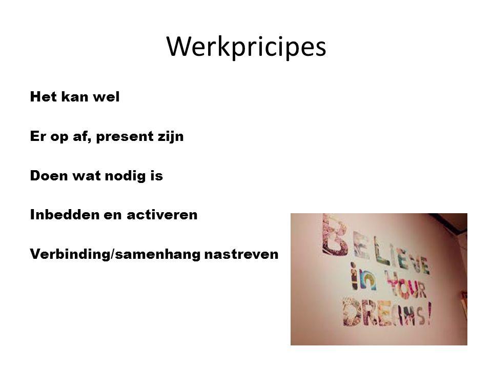 Werkpricipes Het kan wel Er op af, present zijn Doen wat nodig is Inbedden en activeren Verbinding/samenhang nastreven
