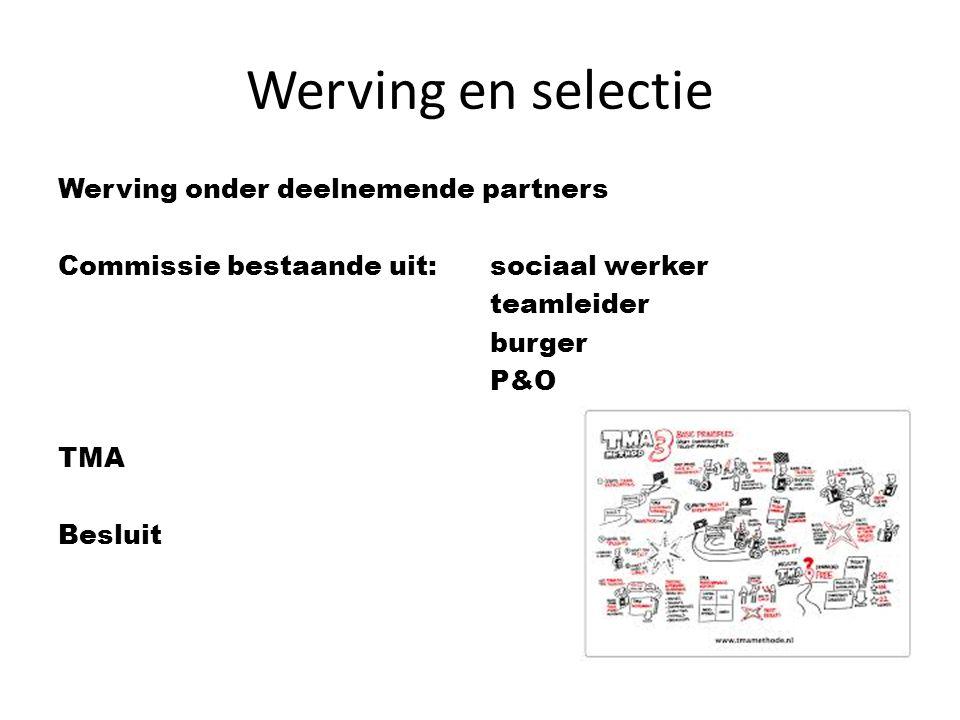 Werving en selectie Werving onder deelnemende partners Commissie bestaande uit: sociaal werker teamleider burger P&O TMA Besluit