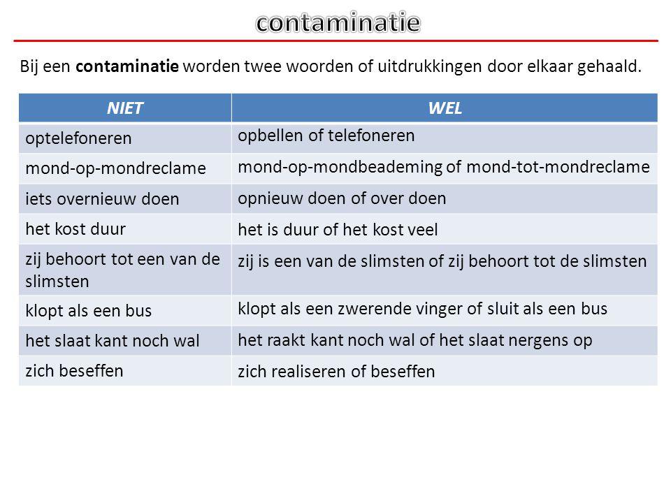 contaminatie Bij een contaminatie worden twee woorden of uitdrukkingen door elkaar gehaald. NIET. WEL.