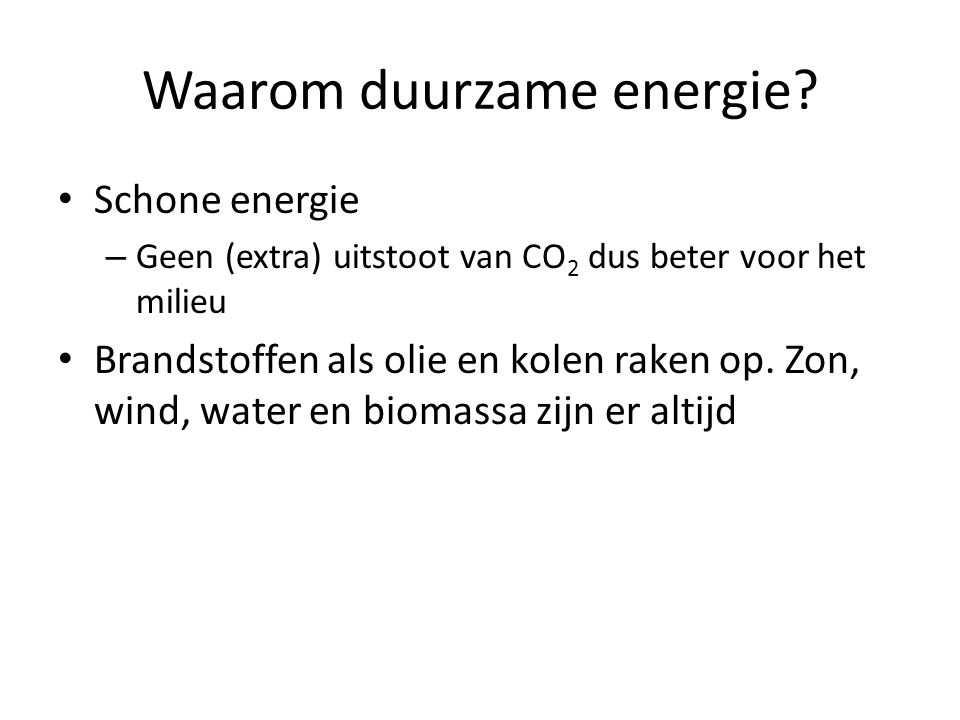Waarom duurzame energie