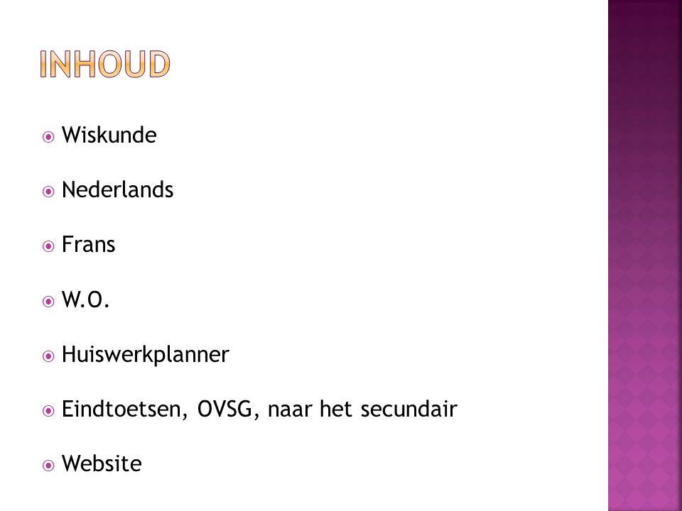 Inhoud Wiskunde Nederlands Frans W.O. Huiswerkplanner