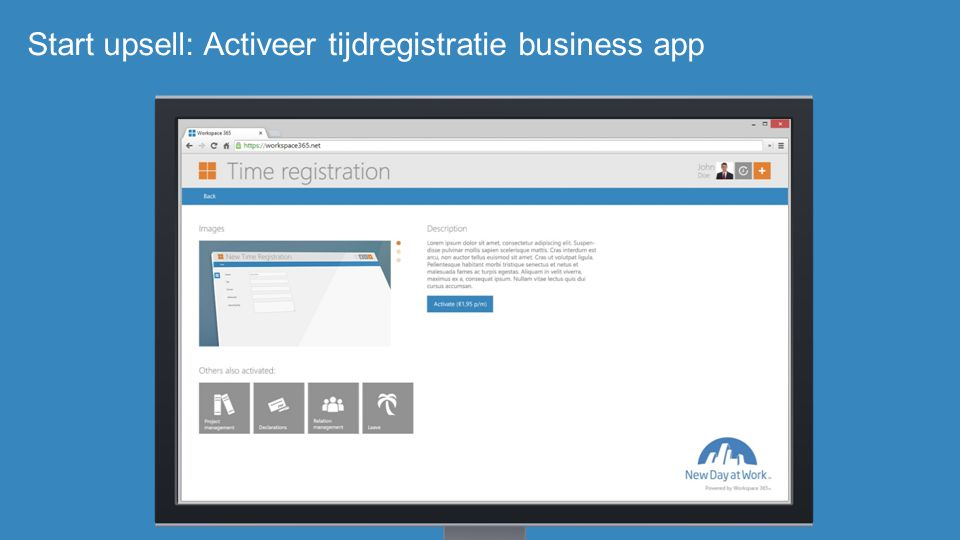 Start upsell: Activeer tijdregistratie business app
