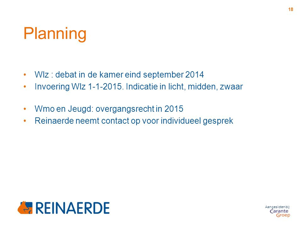Planning Wlz : debat in de kamer eind september 2014