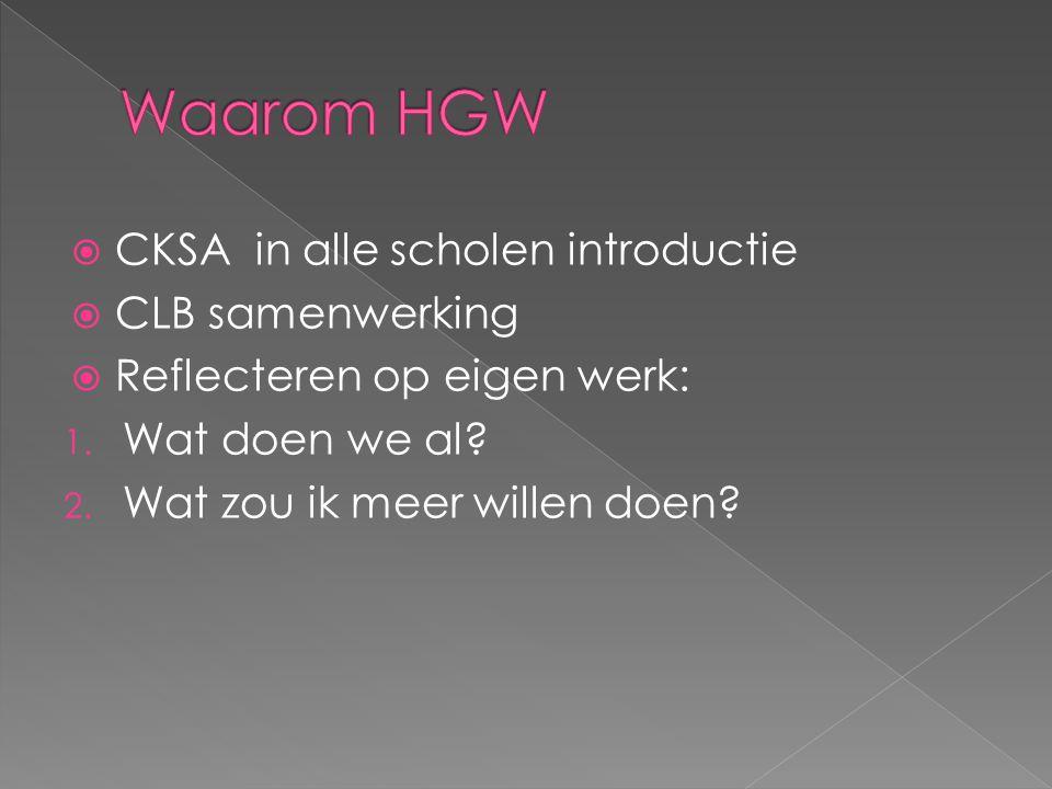 Waarom HGW CKSA in alle scholen introductie CLB samenwerking