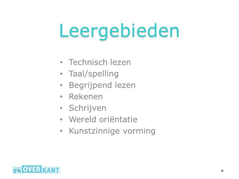 Leergebieden Technisch lezen Taal/spelling Begrijpend lezen Rekenen