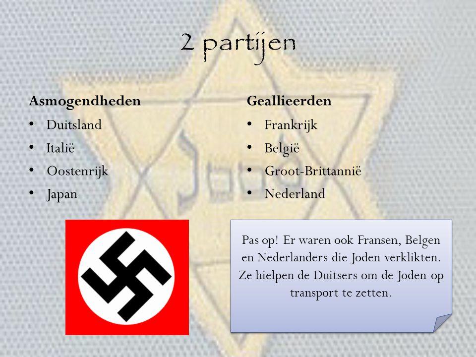 2 partijen Asmogendheden Geallieerden Duitsland Italië Oostenrijk
