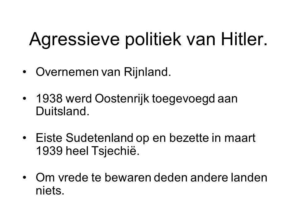 Agressieve politiek van Hitler.