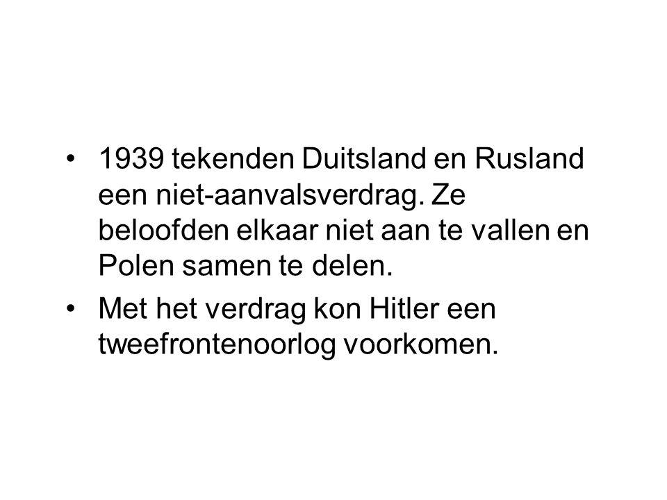 1939 tekenden Duitsland en Rusland een niet-aanvalsverdrag