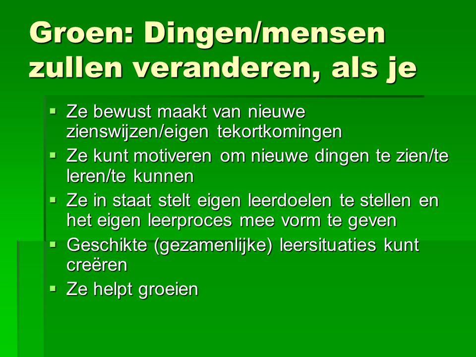 Groen: Dingen/mensen zullen veranderen, als je