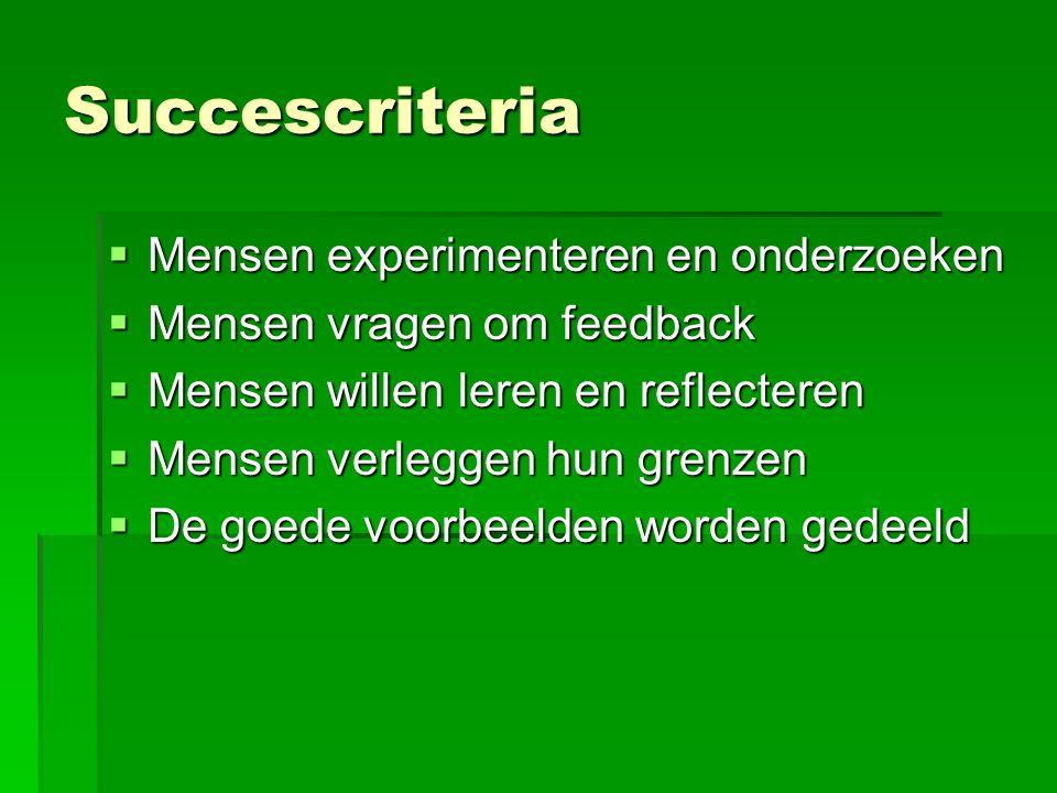 Succescriteria Mensen experimenteren en onderzoeken