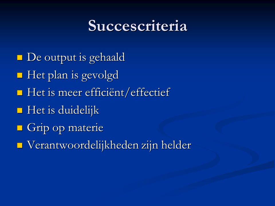 Succescriteria De output is gehaald Het plan is gevolgd