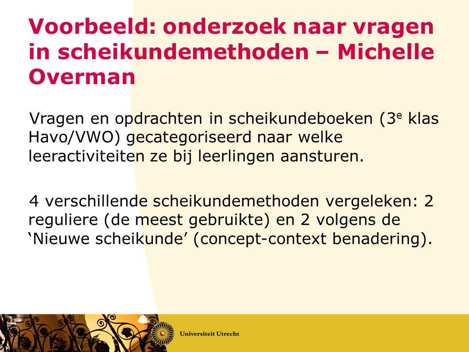 Voorbeeld: onderzoek naar vragen in scheikundemethoden – Michelle Overman