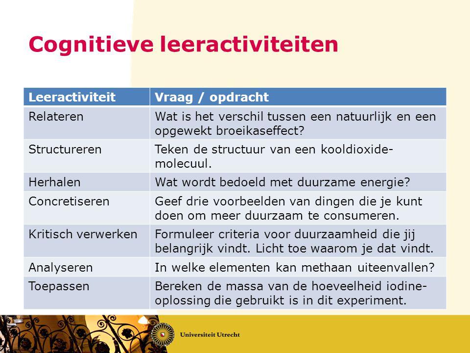 Cognitieve leeractiviteiten